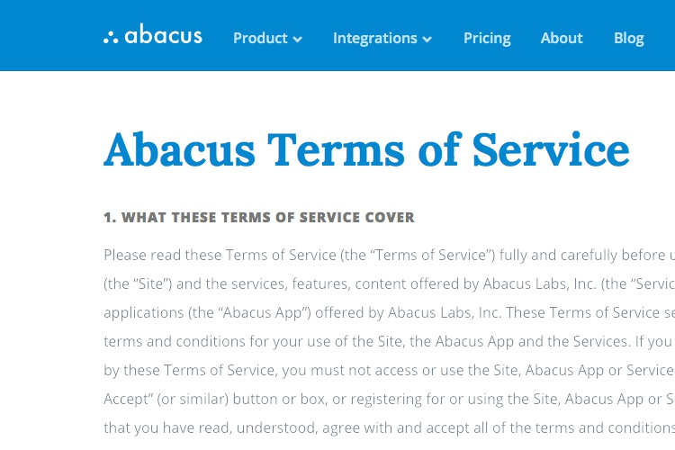 Screenshot of Abacus Terms of Service
