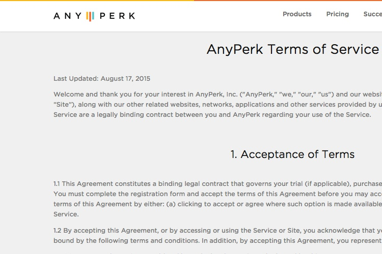 Screenshot of AnyPerk Terms of Service