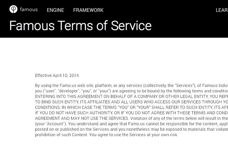 Screenshot of Famo.us TOS