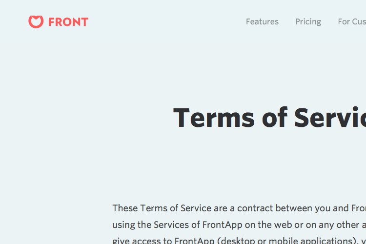 Screenshot of Front Terms of service