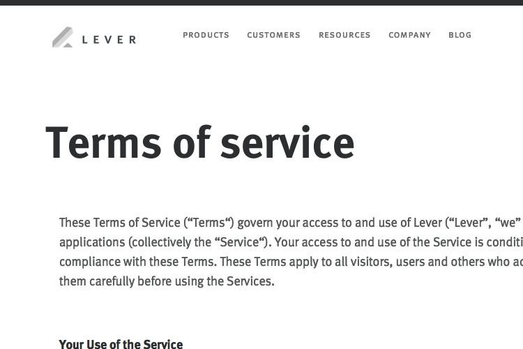 Screenshot of Lever Terms of Service