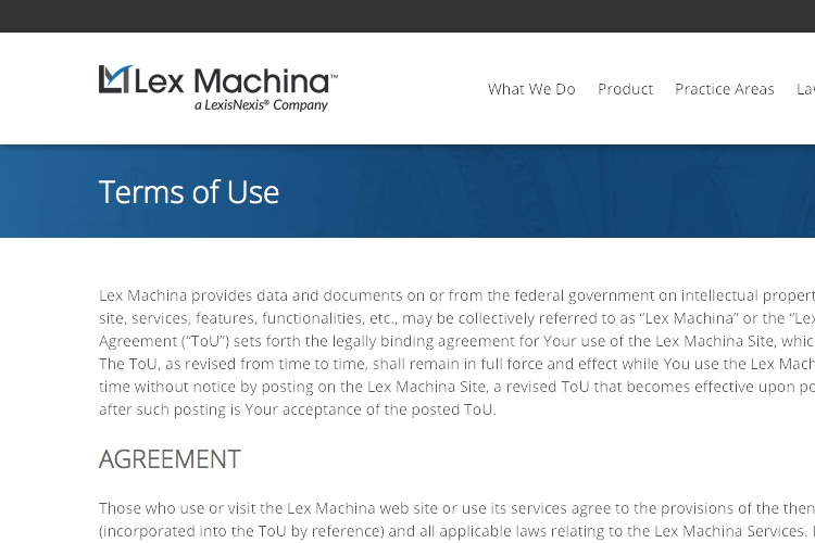 Screenshot of Lex Machina Terms of Use
