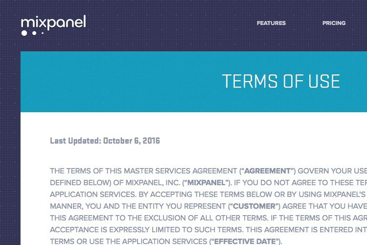 Screenshot of Mixmax Terms of use
