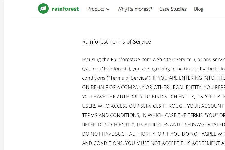 Screenshot of Rainforest Terms of Service