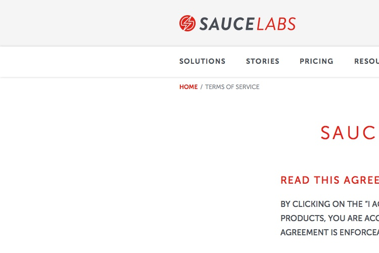 Screenshot of Sauce Labs Terms of Service