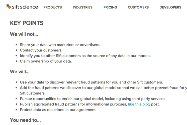 Screenshot of Sift Science Terms of Service