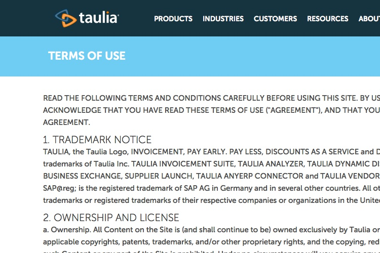 Screenshot of Taulia Terms of Use