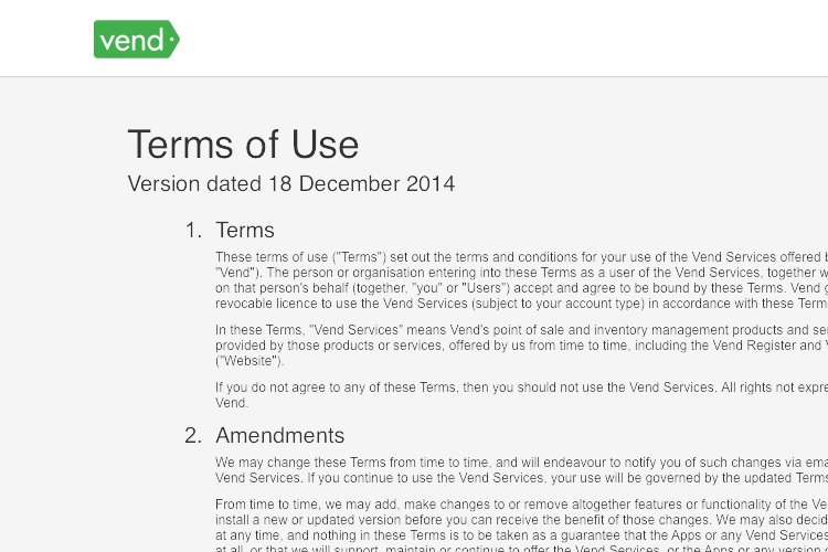 Terms And Conditions Of Vend
